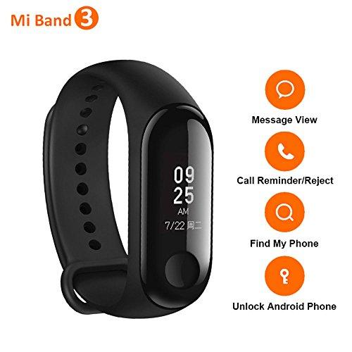 Bracelet Xiaomi Mi Band 3, Écran Tactile DE 0,78 Pouces OLED, Moniteur de Fréquence Cardiaque Fitness Tracker, Réveil, Rappel d'appel pour iPhone Android Smartphone