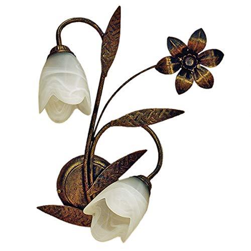 ONLI Forgiata - Applique 2 Luci, Vetro opaco color Bianco, Metallo Marrone spennelato Oro