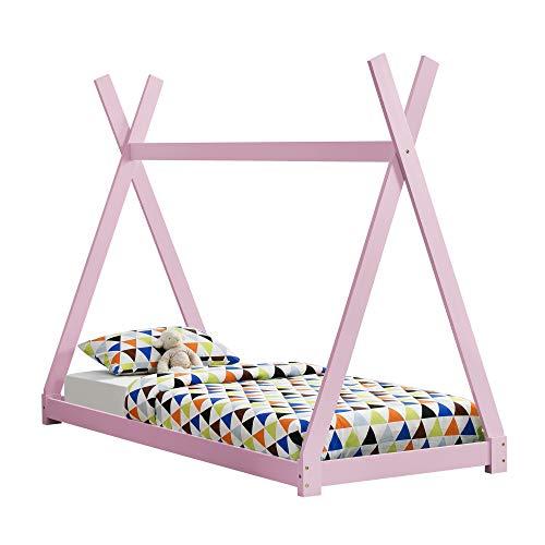 [en.casa] Letto per Bambini 90 x 200 cm Design Teepee Indiano Lettino a Tenda Legno di Pino Rosa