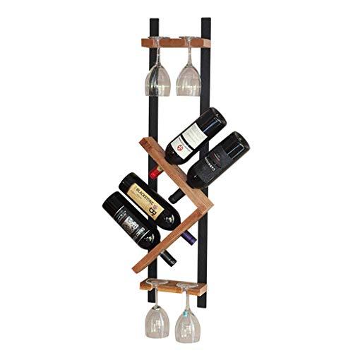 Portabottiglie da Parete in Ferro battuto Nordico, Porta Bicchieri a Calice, 4 Bottiglie di Vino, 4...