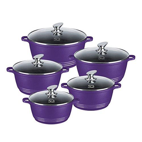 Langlebiges Topfset aus Druckguss, antihaftbeschichtet, keramikbeschichtet, 5-teilig violett