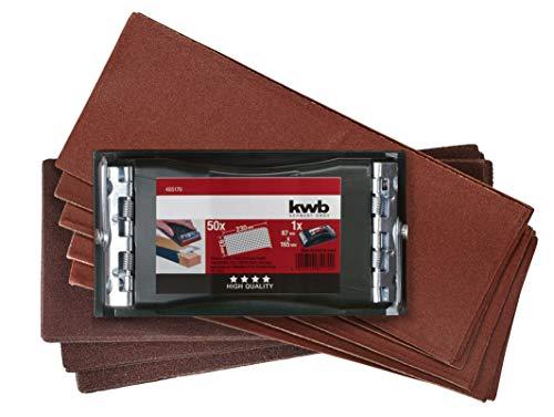 kwb Handschleifer-Set - 2-tlg. inkl. Schleifklotz mit Klemmvorichtung und Schleifpapier 93 mm x 230 mm (50 Stk.)