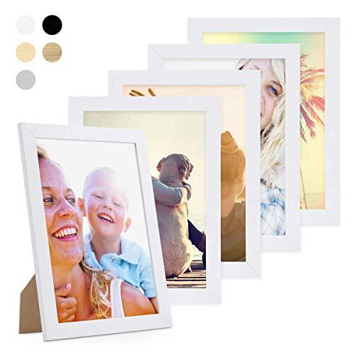 Photolini Set da 5 cornici fotografiche da 21x30 cm/DIN A4 Basic Collection Modern bianco in MDF,...