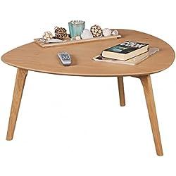 FineBuy Couchtisch aus MDF mit Eichefurnier Nierentisch | Wohnzimmertisch im Landhaus-Stil | Design Holz-Tisch Nierenform Lounge-Tisch | Eiche Massivholztisch Wohnzimmer-Möbel Kaffeetisch