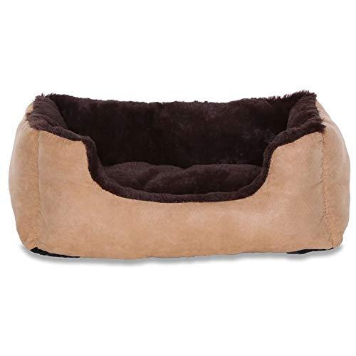 dibea DB00510, Letto per Cani, Divano morbido, Velluto, cuscino reversibile (S) 50 x 37 cm, marrone/beige