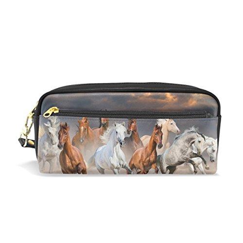 ALAZA corsa cavalli di matita zipper PU penna borsa cosmetici trucco penna cancelleria sacchetto di...