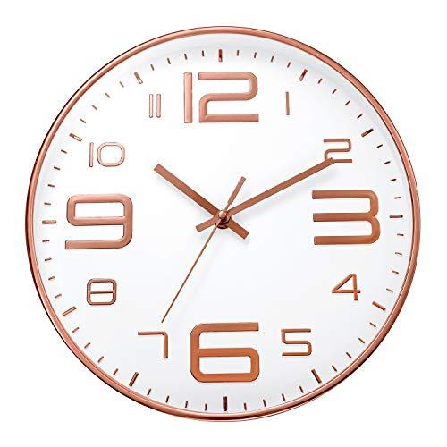ufengke Orologio da Parete Numeri 3D Grandi Oro Rosa Orologio da Muro al Quarzo Silenzioso Industriale Moderno, Diametro 30 cm
