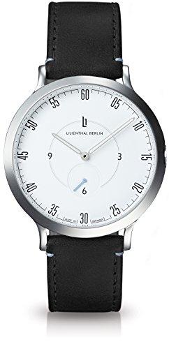 Lilienthal Berlin Unisex Armbanduhr 'L1' in Silber-Weiß mit schwarzem Lederarmband - L01-101-B004A