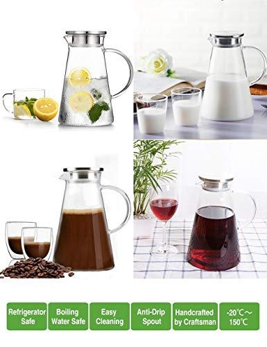Susteas 2.0 litri 70 once Brocca di vetro con coperchio ghiacciato brocca di tè brocca di acqua...