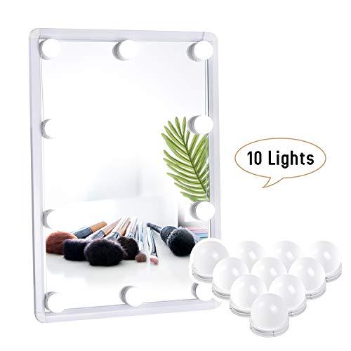 Luci Da Specchio, Kit Luci per Specchio Stile Hollywood per Trucco 10 Lampadine LED Dimmerabili...