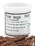 Langer Pfeffer, Rot, 40 g, in Keramik-Vorratsdose, Stangenpfeffer, Pippali, Bengal-Pfeffer, Pfeffer-Spezialität inkl. Keramikdose