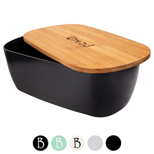 ORION Brotkasten schwarz Brotbox mit Bambus Deckel Brot BREAD Bamboodeckel