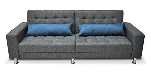 Divano letto in tessuto grigio - divanetto 3 posti mod. Giulia