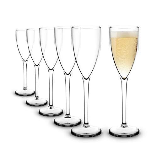 RB Infrangibile Flute da Champagne Bicchieri Premium Plastica 15cl, Set di 6