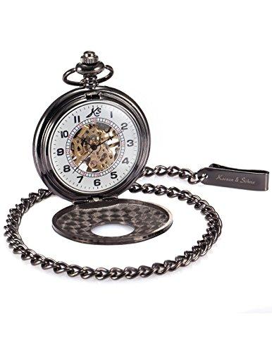 KS KSP005-Orologio da taschino meccanico da uomo a catena, numeri romani vintage elegante con orologio a carica manuale