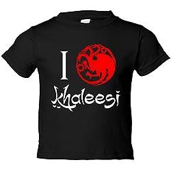 Camiseta niño Game Of Thrones Juego de Tronos I Love Khaleesi - Negro, 3-4 años