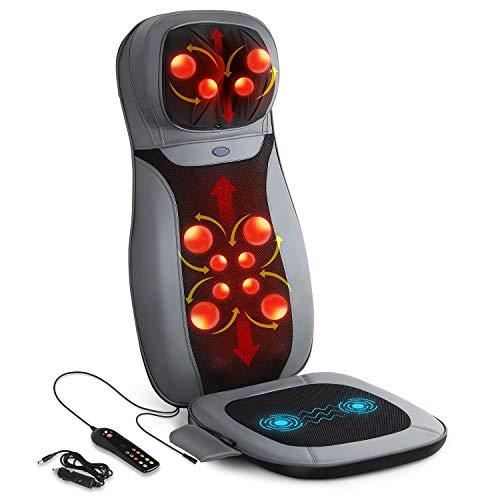INTEY Sedile Massaggiante - Collo e Schienale Massaggiante Shiatsu, Riscaldamento, Vibrazione dell'anca, Adatto per Auto, Ufficio