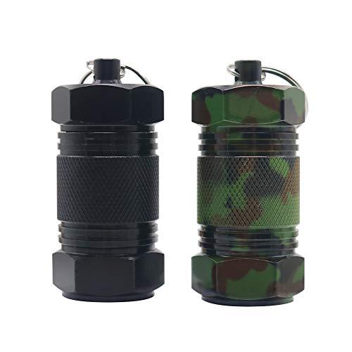 Shintop 2 Stück Medizin-Dosen aus Aluminium mit hoher Füllmenge, Behälter mit Schlüsselring, Wasserdichter Behälter für Draußen, Zelten, Reisen (Schwarz+Tarnung)