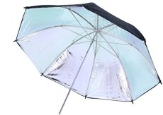 Rollei Pro Reflector Umbrella Silver 83 cm - Paraguas de Reflector Profesional Plata 83 cm - Paraguas Reflector Reflectante de Plata, para fotografía de Personas, Negro/Plata.