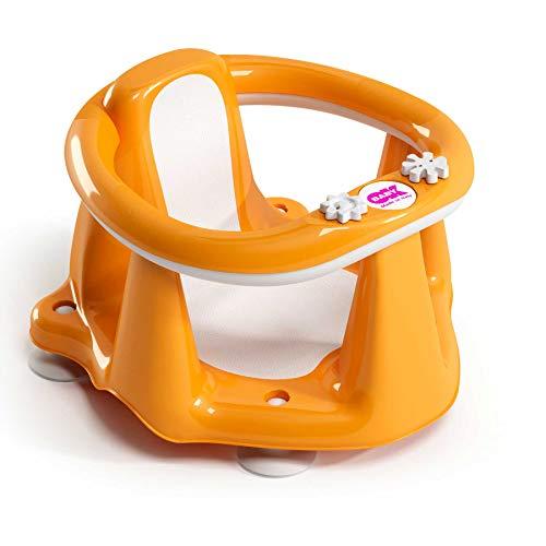 Ok Baby - Flipper Evolution 37994540 - Anello con Seduta in Gomma Antiscivolo per Bagnetto Neonato 6-15 Mesi (13 kg) Arancione