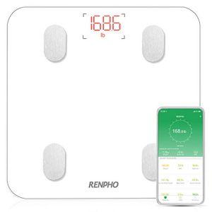 Pèse Personne Impédancemètre,RENPHO Balance Connecté,Pèse-Personne Bluetooth, Mesure du Poids,Graisse,Masse Musculaire et Osseuse,Eau,Ecran Rétroéclairé