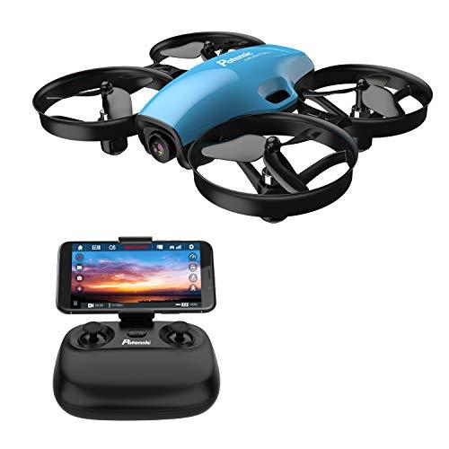 Potensic Drone con Telecamera 720P HD Mini Drone Telecomando A30W Quadricottero WiFi modalità Senza Testa, Adatto per Principianti, Buon Regalo per Bambini Blu