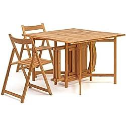 Set tavolo e 4 sedie in legno per esterno salvaspazio