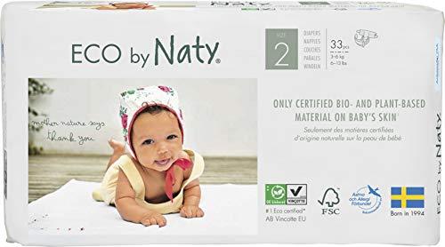 Eco by Naty, Taglia 2, 132 pannolini, 3-6kg, fornitura di UN MESE, Pannolino ecologico premium a base vegetale con lo 0% di plastica a base di petrolio sulla pelle.