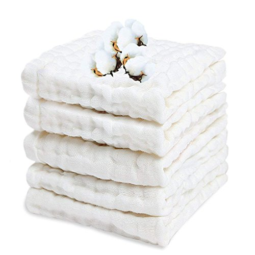 Asciugamani Neonati, Set Da 6 Cotone Mussola Neonato, Asciugamani Bambini 30 x 30 cm