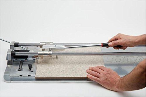 This tile cutter provides accurate high cutting power even without marking the ceramic. Its alloy scoring wheel is extremely durable and will cut several hundreds of square feet without showing signs of degradation.