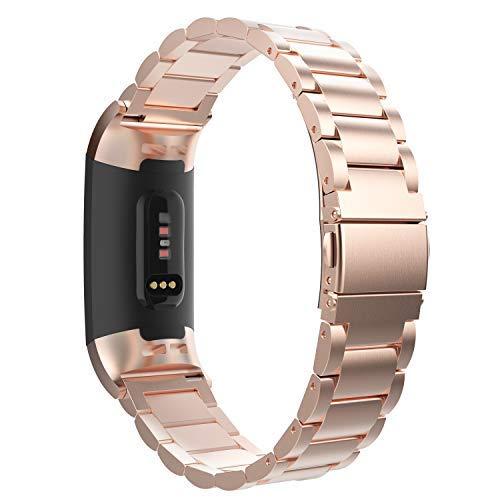 MoKo Cinturino per Fitbit Charge 3, Braccialetto in Acciaio Inossidabile con Chiusura Pieghevole per Fitbit Charge 3 - Oro Rosa