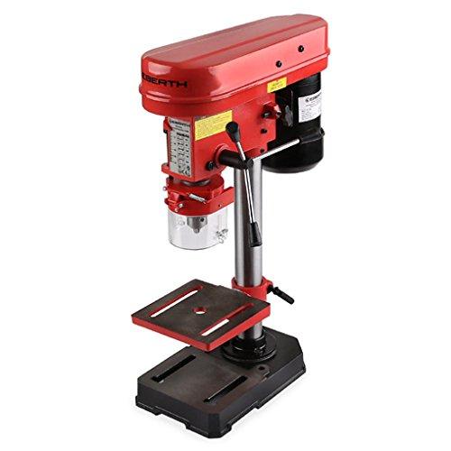 EBERTH 350 W Tischbohrmaschine (50mm Spindelhub, Bohrfutter Ø 1,5-13 mm, 5 Geschwindigkeitsstufen, neigbarer und schwenkbarer Bohrtisch)