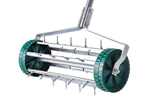 Aireador de césped manual de UPP, para airear el césped, robusto rodillo de espino funciona sin electricidad ni gasolina.