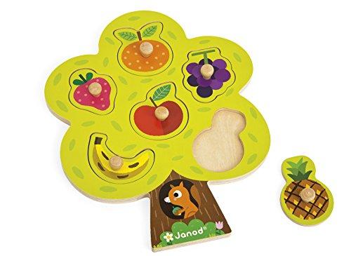 Janod - Puzzle didattico di Legno 6 Pezzi, Alberto e Frutta, J07061