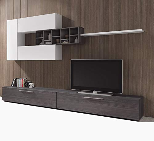 Esidra Mobile Soggiorno Parete attrezzata Porta TV, Rovere, 260 x 32 x 42 cm