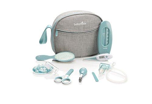 Babymoov Baby-Kulturtasche - Pflege-Set, für Babys, 9-teilig, mit digitalem Fieberthermometer, Nasensauger, blau-türkis