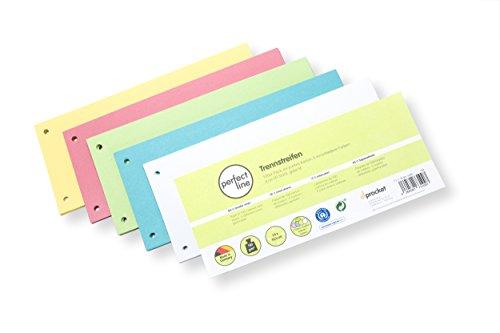 perfect line 100 Stück Papier-Trennstreifen, Register-Trenner in 5 Light-Farben, Trenn-Blätter farbig sortiert, Karten mit 160g/m², bunte Laschen für perfektes Trennen der DIN-A4 Ordner im Büro