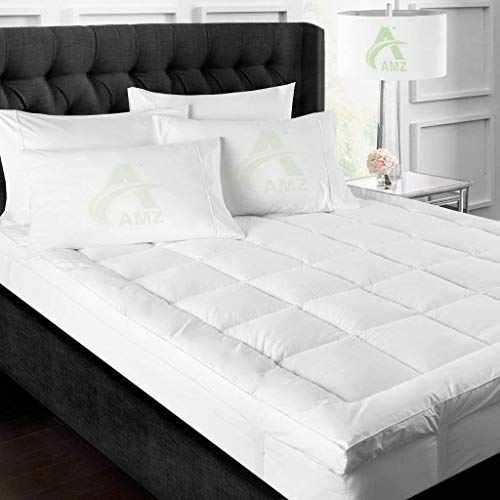 AMZ Finest Imported Quality Supersoft 500 GSM Hollow Microfiber Mattress Padding/Topper (White,Set of 1) (48 x 72 Inches)