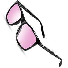 SUNMEET-Gafas-de-sol-Hombre-Polarizadas-Clsico-Retro-Gafas-de-sol-para-Hombre-UV400-Protection-S1001RosaNegro