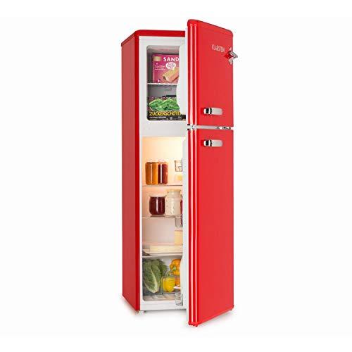 KLARSTEIN Audrey - Frigo e Congelatore Combinati, Freezer 39 Litri, Frigorifero 97 Litri, 3 Ripiani Frigo, 2 Ripiani Freezer, Classe Energetica A+, 41 dB, Look in Stile Retrò, Rosso
