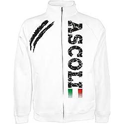 Generico Giacchino Ascoli Tifosi Ultras Calcio Sport dalla S alla XXL e 4 Colori Disponibili(XL, Bianco)