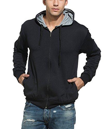 Alan Jones Clothing Men's Solid Black Sweatshirt (SS-401-BLACK-L_Large_Black)