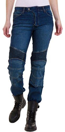 Qaswa Damen Motorradhose Jeans Motorrad Hose Motorradrüstung Schutzauskleidung Motorcycle Biker Pants, W28-L31, Blue
