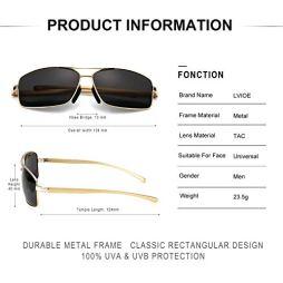 LVIOE-Hombres-Polarizadas-Gafas-De-Sol-Rectangulares-Marco-De-Metal-Proteccin-100-UVA-UVB