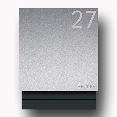 Briefkasten Edelstahl B1 Light Number inkl. Namensbeschriftung (Türanschlag links)