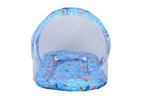 Fun Gallery Kid's Cartoon Print Bedding Set with Mosquito Net Foldable Mattress, Pillow and Zip Closure (Blue)