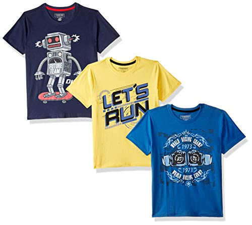 Cherokee by Unlimited Boys' Plain Regular Fit T-Shirt (Pack of 3)(276885006_Assorted_09Y)