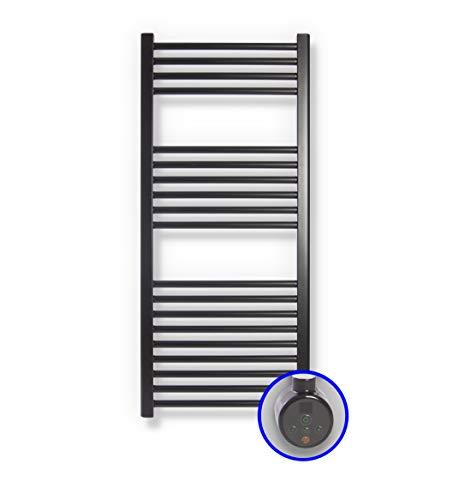 Radiateur Sèche-Serviette Électrique Cicsa Zeta E * Porte-Serviettes Électriques (Mesures 1200 x 500 mm) Avec Contrôle TH02 * Sèche-Serviette En Noir Mat Ral 9005 * 10 ANS de Garantie