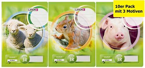 LANDRE 100050090 Schulheft 10er Pack mit 3 Motiven A4 16 Blatt Lineatur 3R - für die 3. Klasse mit Rand