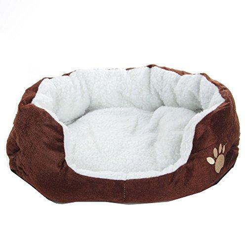 Haibei Animale domestico Letto Unico Divano Letto Morbido Cotone Vello Staccabile Cuscino Calda Morbido per Animale Domestico Gatto Cane Cucciolo (Marrone)